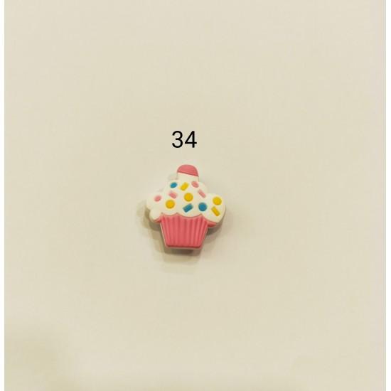 Jibbitz cupcake λευκό-ροζ Νο34