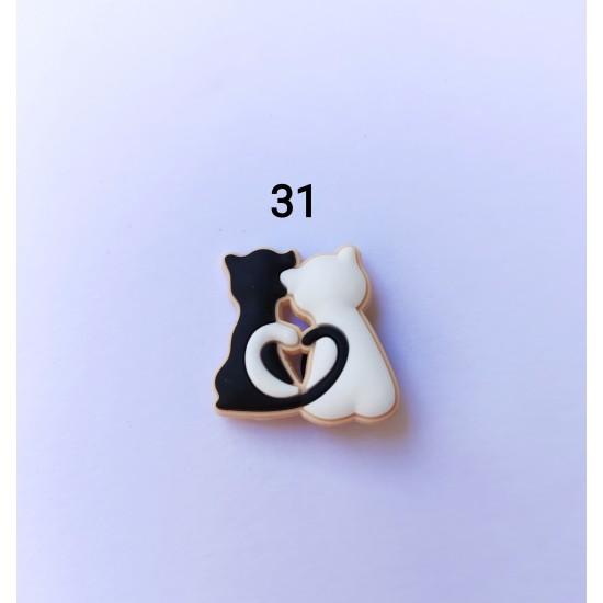 Jibbitz ζευγάρι γάτες Νο31