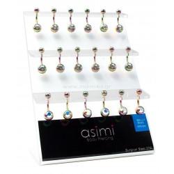 Rainbow σκουλαρίκι αφαλού με λευκές & ιριδίζον πέτρες