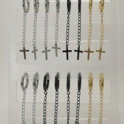 Σκουλαρίκι κρίκος αλυσίδα με σταυρό