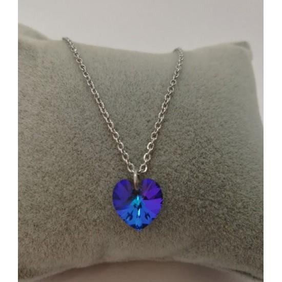 Κολιέ καρδιά swarovski μπλε